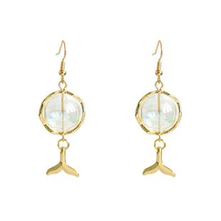 fashion simple bubble glass ball  earrings simple fish tail earrings  wholesale NHNT229445's discount tags