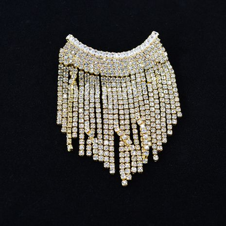 flash diamond tassel brooch pearl brooch row diamond pin suit cardigan accessories wholesale nihaojewelry NHNT229463's discount tags