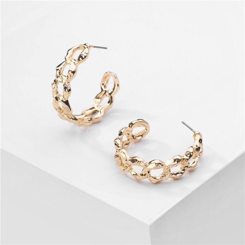 jewelry popular jewelry gold platinum chain shape exaggerated punk metal earrings wholesale nihaojewelry NHLU229491