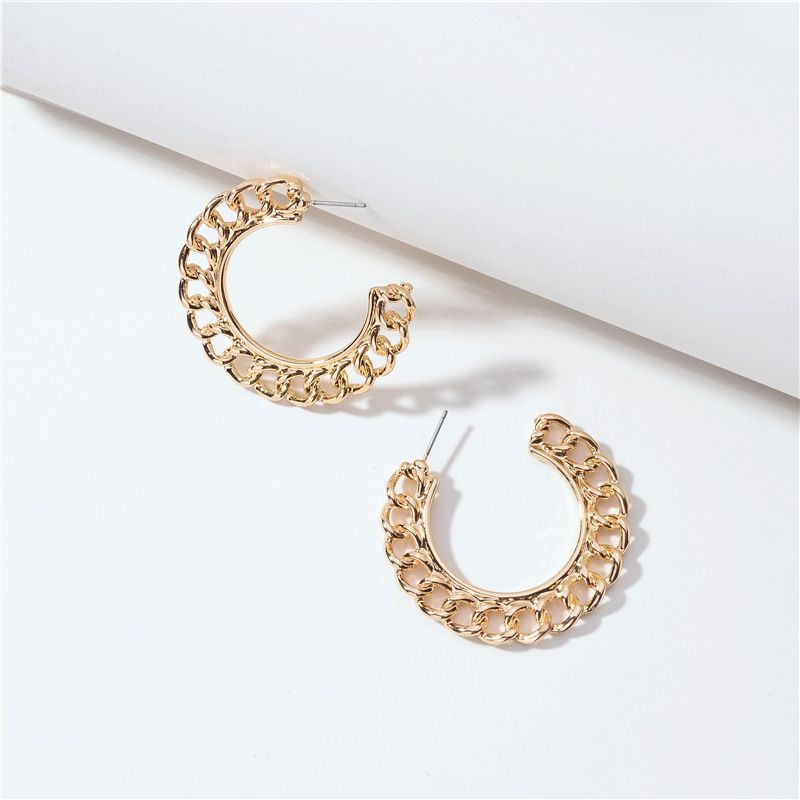 Jewelry popular jewelry geometric shape metal twist chain round earring wholesale nihaojewelry NHLU229494