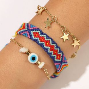 Bohemian star hand-knitted three-piece suit bracelet trend gravel jewelry wholesale nihaojewelry NHLA229529's discount tags