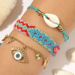 Bohemian eye shell rope woven suit bracelet three conch bracelets wholesale nihaojewelry NHLA229531's discount tags