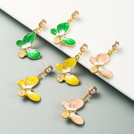 fashion alloy oil drop inlaid pearl butterfly S925 silver needle earrings girl heart long earrings wholesale nihaojewelry NHLN229534's discount tags