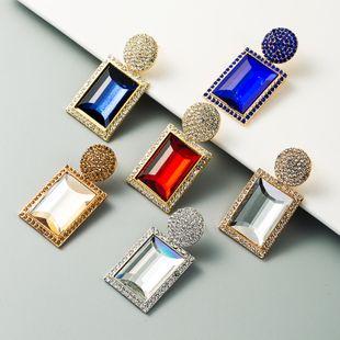 retro exaggerated earrings ladies alloy inlaid rhinestone geometric Korean earrings wholesale nihaojewelry NHLN229536's discount tags