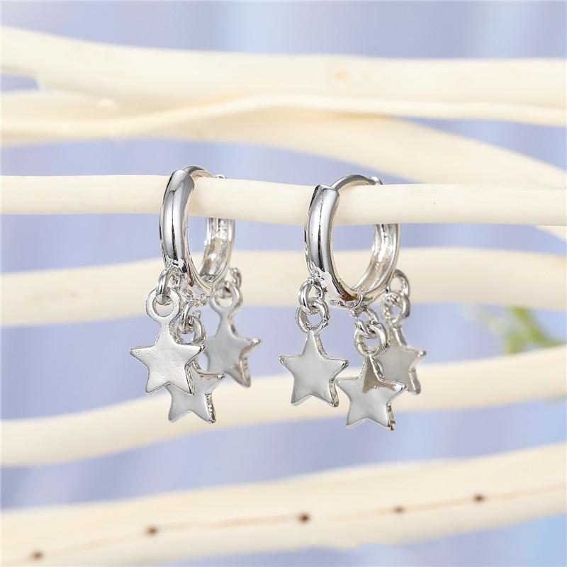 Korean simple sweet multi-layer five-pointed star pendant earrings tassel star ear ring ear buckle hot jewelry wholesale nihaojewelry NHGO221014