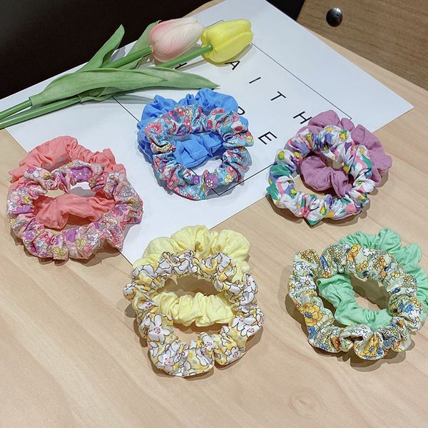 Girl hair scrunchies sweet floral solid color head rope rubber band cloth headdress large intestine ring wholesale nihaojewelry NHNA229609