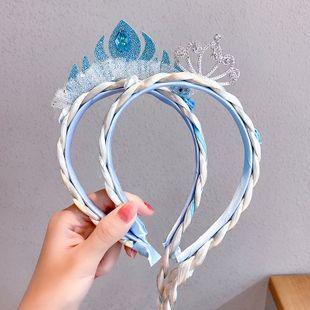 Frozen princess hair hoop children's wig braid hair headband cute bow crown hair jewelry wholesale nihaojewelry NHNA229611's discount tags