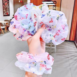 printing butterfly hair scrunchies pig large intestine hair circle ball hair circle head rope retro hair rope wholesale nihaojewelry NHNA229618's discount tags