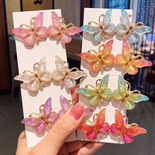 South Korea's new oil drop butterfly hairpin duckbill clip headdress girl hairpin hair accessories wholesale nihaojewelry NHNA229623's discount tags