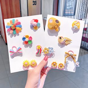 Cloth art flower hair circle tie hair rubber band rainbow princess bow wholesale nihaojewelry NHNA229627's discount tags