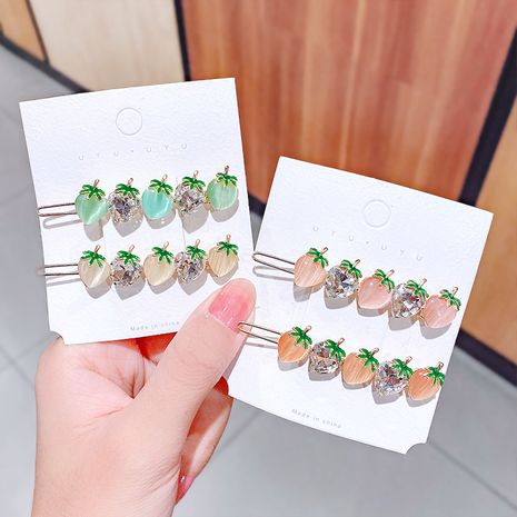 Korean cute opal hairpin strawberry girl frog buckle clip hairpin headdress bangs clip wholesale nihaojewelry NHNA229628's discount tags