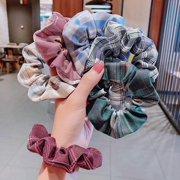 hair scrunchies head rope pig large intestine hair rope fabric lattice large intestine circle retro wholesale nihaojewelry NHNA229629
