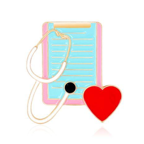 moda caliente ramillete médico corazón de melocotón estetoscopio broche de gota de aceite al por mayor nihaojewelry NHDR229634's discount tags
