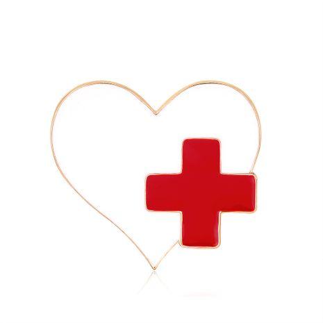 Venta caliente nueva moda aleación de aceite gota broche cruz roja amor broche al por mayor nihaojewelry NHDR229639's discount tags