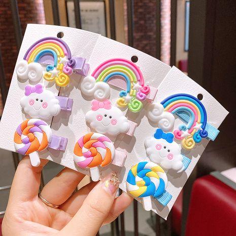 Arc en ciel nuage sucette couleur épingle à cheveux enfants coréens mignon en épingle à cheveux petite fille fille bébé cheveux accessoires clip NHSA229641's discount tags
