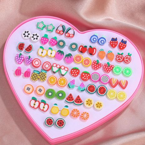 korean fashion  cute cartoon fruit love gift box set 36 pairs of earrings resin sweet earrings wholesale nihaojewelry NHZU229679's discount tags