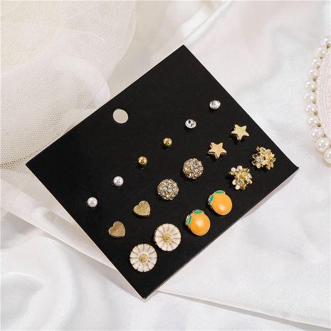coréen simple mode nouveau 9 paires de plaque peinture à l'huile fruits zircon boucles d'oreilles ensemble en gros nihaojewelry NHZU229680's discount tags