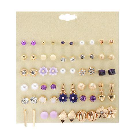 30 paires de coréen violet résine fleurs géométriques alliage goutte à goutte boucles d'oreilles en gros nihaojewelry NHZU229693's discount tags