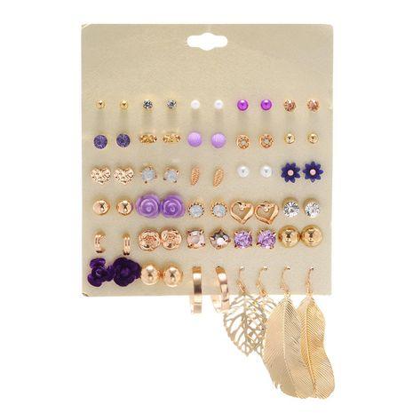 Corée tendance 30 paires d'alliage de fleurs violettes feuilles creuses boucles d'oreilles géométriques ensemble en gros nihaojewelry NHZU229694's discount tags