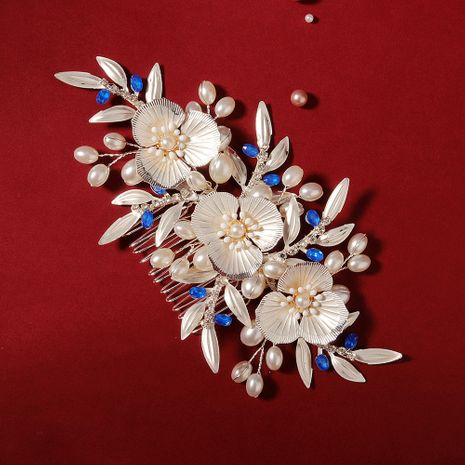 wedding retro flower pearl plug comb bride tray hair comb dinner party headdress wholesale nihaojewelry NHHS229696's discount tags