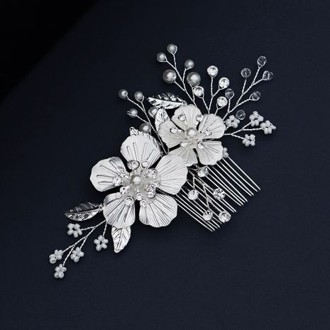 bridal jewelry elegant white flowers pearls combs hand-beaded hair comb wedding wholesale nihaojewelry NHHS229700's discount tags