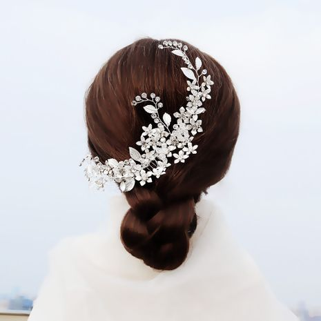 wedding jewelry elegant bride headdress copper flower hand-inserted costume plate hair comb wholesale nihaojewelry NHHS229705's discount tags