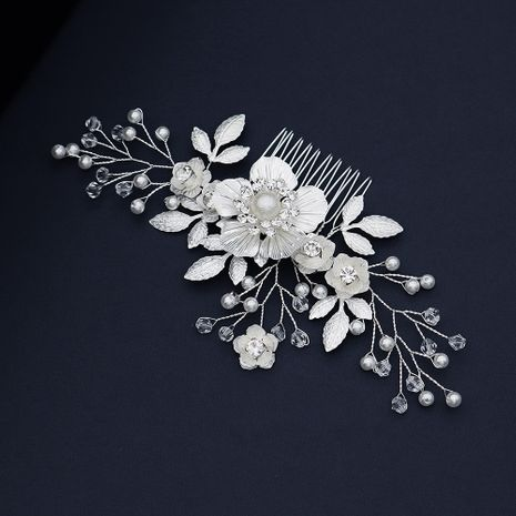 French cold and elegant headdress white flowers inserted comb wedding dress banquet jewelry wholesale nihaojewelry NHHS229712's discount tags
