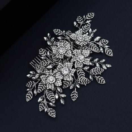 jewelry exaggerated bridal headdress full diamond insert comb alloy hollow leaf disc hair comb wholesale nihaojewelry NHHS229715's discount tags