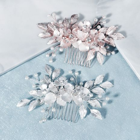 Korea Wedding Headdress Alloy Flowers Manually Comb Bride Wedding Dress Plate Hair Accessories wholesale nihaojewelry NHHS229716's discount tags