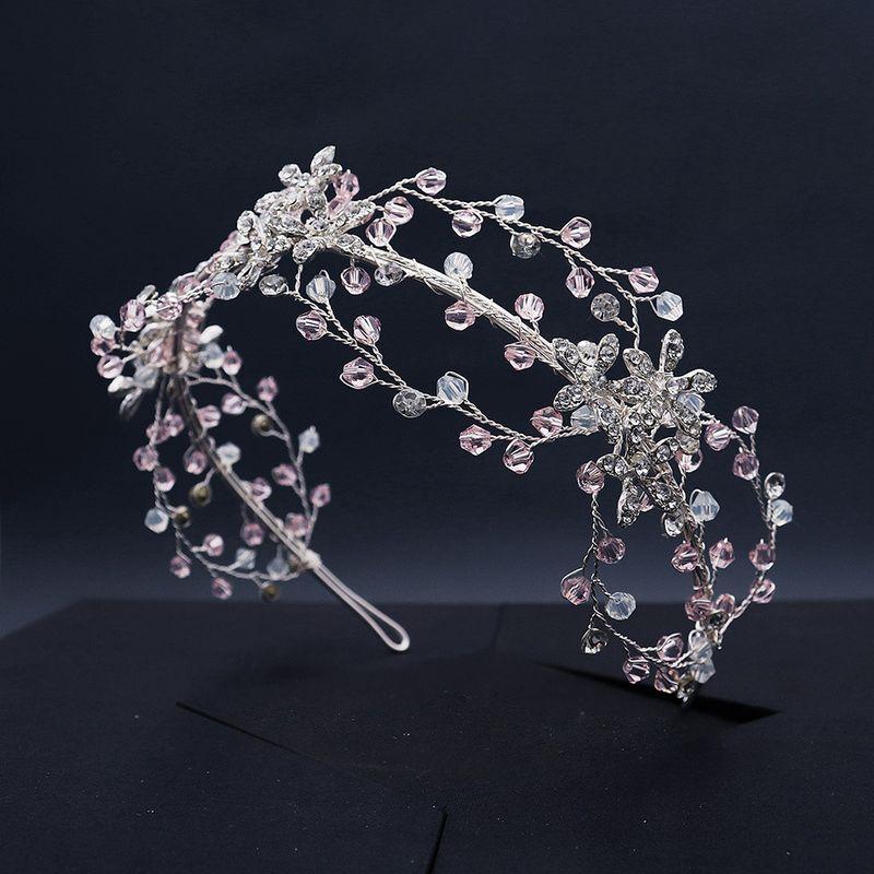 creative bridal jewelry braided crystal crown side pressure hair hoop photo accessories wholesale nihaojewelry NHHS229718