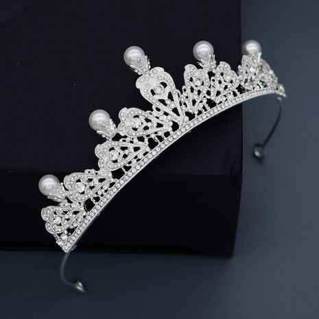 retro pearl crown alloy rhinestone hollow hair accessories bridal jewelry wholesale nihaojewelry NHHS229722's discount tags