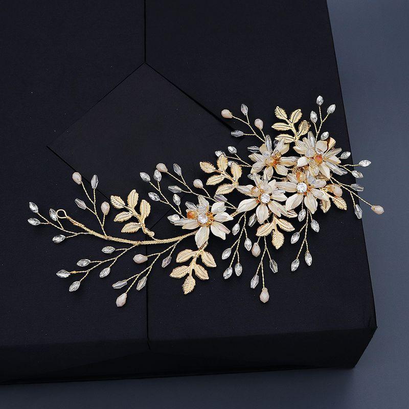 bridal headdress head flower leaf flower twisted bead hairpin wedding side clip photo studio photo photo hair accessories NHHS229724