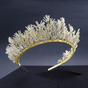 retro handmade beaded queen crown headdress bride wedding birthday party hair hoop wholesale nihaojewelry NHHS229726's discount tags