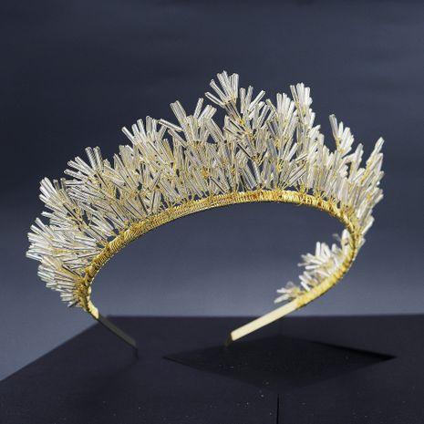 Retro hecho a mano con cuentas reina corona tocado novia boda cumpleaños fiesta pelo aro al por mayor nihaojewelry NHHS229726's discount tags