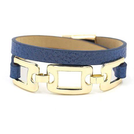 nouveau mode double cercle non standard alliage protection de l'environnement PU cuir magnétique boucle bracelet multicolore en gros nihaojewelry NHHM229732's discount tags