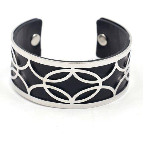 nouvelle mode PU cuir métal creux femmes large bracelet multi-couleur dames bracelet en gros nihaojewelry NHHM229733's discount tags