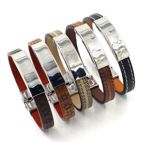 Simple men and women fashion leather bracelet DIY jewelry retro six-point star line leather bracelet wholesale nihaojewelry NHHM229734's discount tags