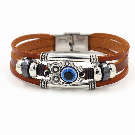 Estilo bohemio pulsera de piel de vaca marrón de ojos azules búho soleado con cuentas pulsera de moda de múltiples capas al por mayor nihaojewelry NHHM229736's discount tags
