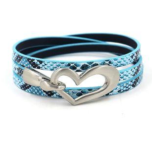 new fashion bracelet heart-shaped hook buckle three circle snake pattern PU leather bracelet wholesale nihaojewelry NHHM229737's discount tags