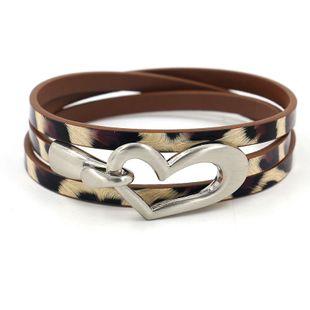 new fashion bracelet creative three-lap leopard PU leather quality bracelet wholesale nihaojewelry NHHM229739's discount tags