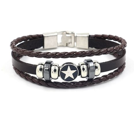 jewelry men's retro five-pointed star alloy bracelet star braided leather bracelet wholesale nihaojewelry NHHM229740's discount tags