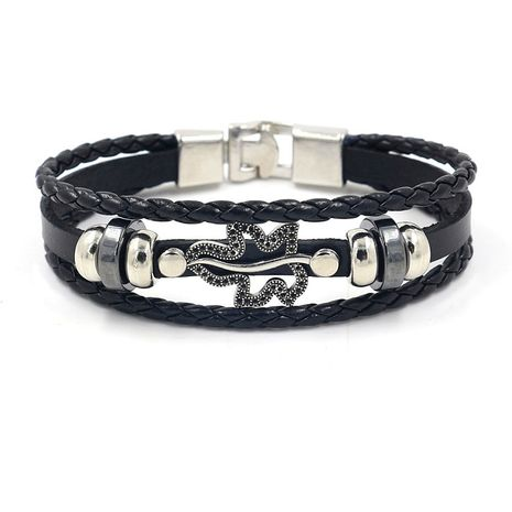 men's popular jewelry composite gold leaf multi-layer buckle leather leaf leather bracelet wholesale nihaojewelry NHHM229743's discount tags