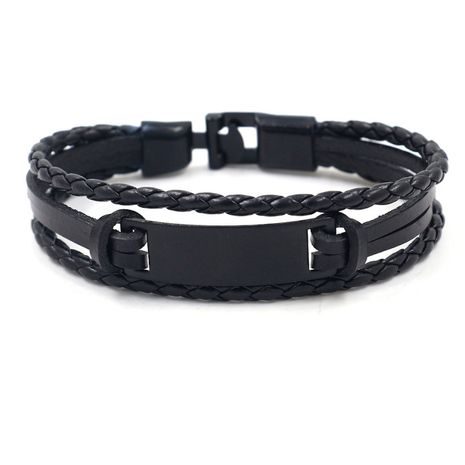 bijoux de style hip-hop natation bracelet en cuir en alliage noir bracelet tissé pour hommes en gros nihaojewelry NHHM229744's discount tags