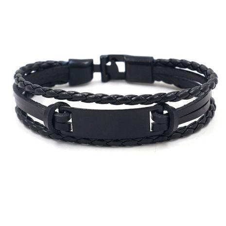 hip-hop style jewelry swimming black alloy leather bracelet fashion men's woven bracelet wholesale nihaojewelry NHHM229744's discount tags