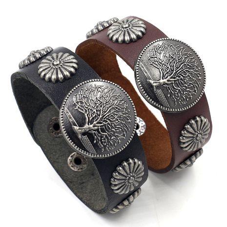 Stud punk bracelet en peau de vache mode hommes en cuir bracelet rétro vie arbre bracelet en gros nihaojewelry NHHM229745's discount tags