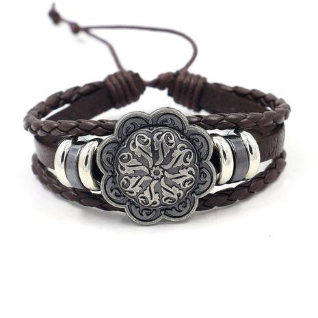 hot selling retro alloy geometric bracelet popular woven cowhide bracelet wholesale nihaojewelry NHHM229746's discount tags