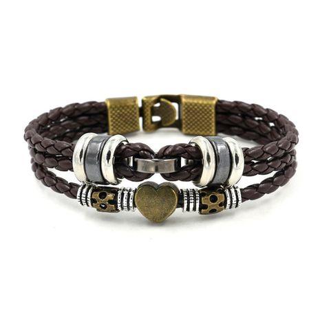 Vintage mode perlé en cuir corde bracelet PU cuir corde tissé hommes bijoux à la main en gros nihaojewelry NHHM229748's discount tags