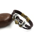 Vintage fashion beaded leather rope bracelet PU leather rope woven mens hand jewelry wholesale nihaojewelry NHHM229748
