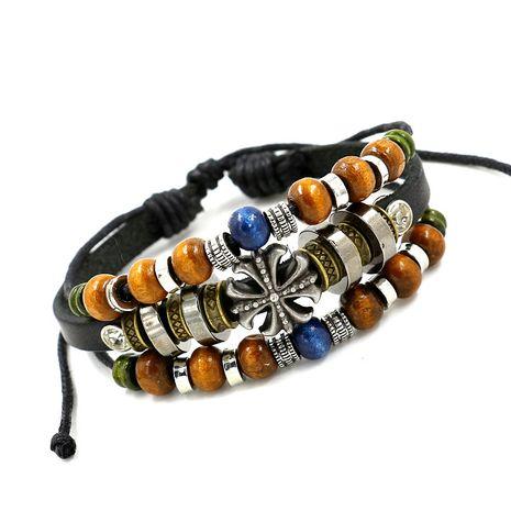 fashion jewelry retro beaded cross cowhide jewelry unisex leather bracelet wholesale nihaojewelry NHHM229749's discount tags