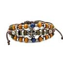 fashion jewelry retro beaded cross cowhide jewelry unisex leather bracelet wholesale nihaojewelry NHHM229749